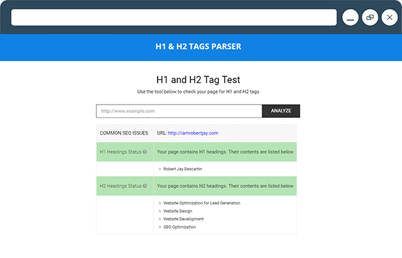 H1 and H2 Tags Parser